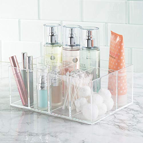 mDesign Organizador de maquillaje – Caja transparente con 5 compartimentos - Ideal para guardar maquillaje, cosméticos y productos de belleza – Plástico transparente