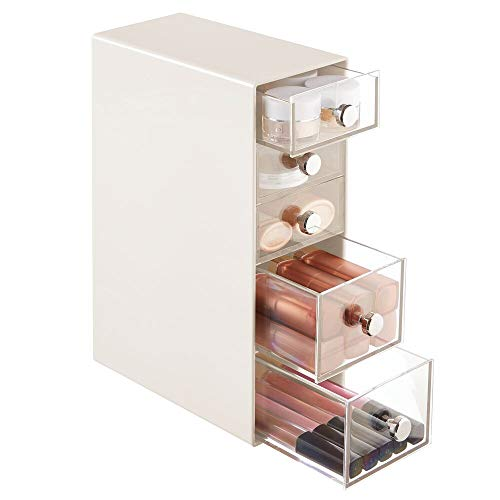 mDesign Organizador de maquillaje – Caja de almacenamiento con 5 cajones para rímel, polvos, pintaúñas, etc. – Organizador de cosméticos para baño, tocador o despacho – crema y transparente
