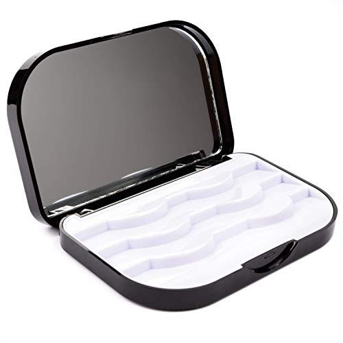 Allwon Caja de pestañas postizas Caja de pestañas vacías de tres niveles con espejo de maquillaje Caja de almacenamiento de viaje de embalaje de pestañas (negro)