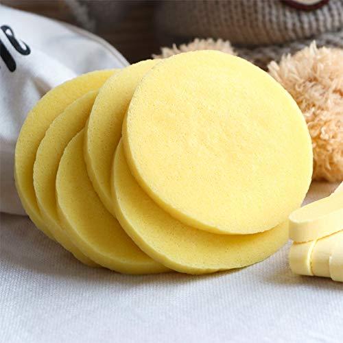 Esponjas faciales comprimidas, 240 piezas de esponja de limpieza facial redonda de maquillaje de belleza, almohadillas de lavado facial, exfoliantes faciales para mujeres, color amarillo
