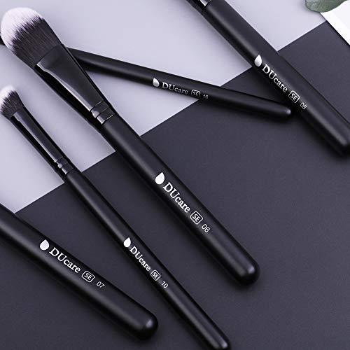 DUcare Brochas de Maquillaje Profesional Negro 27 pcs Maquillaje Profesional Pinceles Premium Synthetic Maquillaje de Ojos, Rubor, Contorno, Corrector, Pinceles Cosméticos