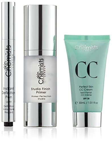 skinChemists Bundle - Kit: prebase de maquillaje Studio Finish, CC cream piel perfecta y lápiz antiojeras definición instantánea, tono claro
