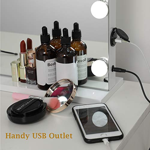 Espejo de maquillaje Woyking Hollywood con luces LED, control táctil, gran espejo cosmético con luz LED regulable, espejo de maquillaje con 12 luces, color blanco
