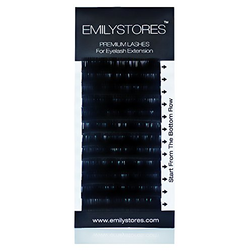 EMILYSTORES Pestañas de visón de seda de 0,05 mm de grosor y 11 mm de longitud para extensiones de pestañas de tamaño único una bandeja