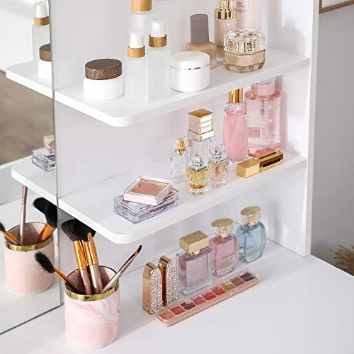 VASAGLE Tocador Moderno con 2 Cajones, Mesa de Maquillaje Rectangular con Espejo, Estantes Abiertos y Esquinas Redondeadas, para Dormitorio, Blanco, 2 Cassetti