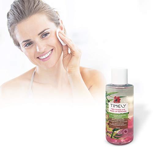 Timely - Desmaquillante de ojos bifásico para maquillaje waterproof, 150 ml