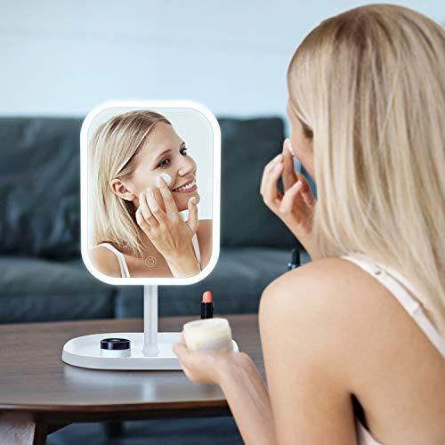 Kasimir Espejo Maquillaje con Luz LED Espejo de Maquillaje Táctil Ultra Alta Definición Profesional Espejo Cosmético Plegable Espejos Maquillaje de Escritorio - Rotación Ajustable de 360°blanco