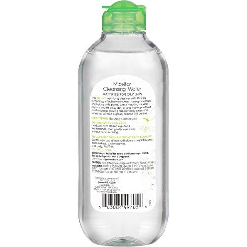 GARNIER - Agua limpiadora micelar todo en 1 - 14 fl oz (400 ml)