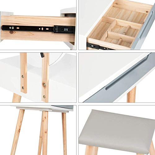 YOURLITE - Tocador de maquillaje, espejo, mesa de cosméticos, mueble de dormitorio, con taburete, cómoda con LED, espejo
