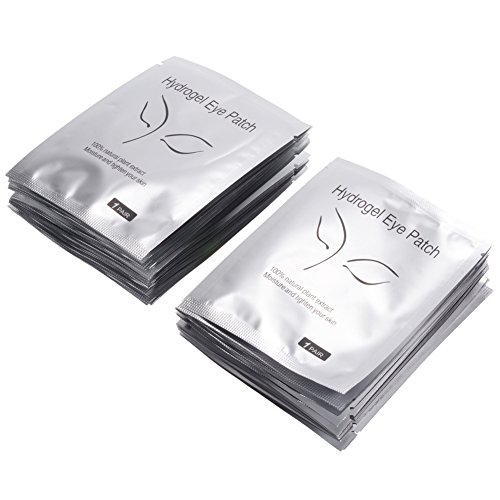Eye Gel Pads, PChero 50 Pares Parches de hidrogel para Pestañas Sin Pelusas + 20 Pegatinas para Almohadillas de Ojos + 50 Cepillos de Pestañas + 1 Rollo de Cinta Microporosa 1,2 x 910cm