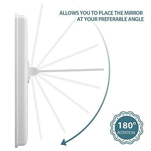 Jerrybox Espejo Cosmético con Iluminación LED, Soporte Trasero | Espejo para Maquillaje con Batería o Carga USB, 180 ° de Rotación, Ajustable, Luz Regulable, Regalo para Mujeres