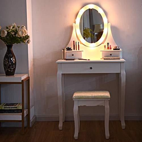 COSTWAY Tocador con Espejo Taburete y Cajones LED Iluminación Tocador de Maquillaje de Madera Cosmético Mesa