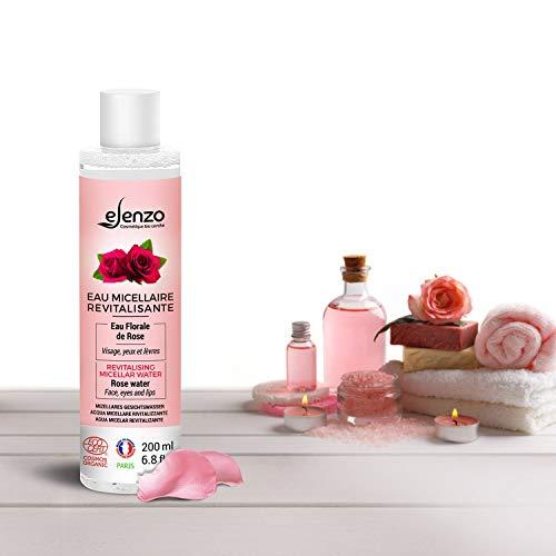 eLenzo • Agua micelar orgánica • Agua floral de rosa • Desmaquillante, hidrata suavemente el rostro, los ojos y los labios • Fabricado en Francia y certificado Ecocert • Todo tipo de piel • 200 ml