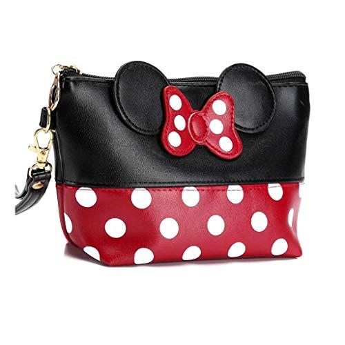Minnie Mouse Ears Style - Estuche de Neceser para Mujer, Diseño de Lunares, para Bolso Maquillaje Llaves Auriculares Lápiz Labial