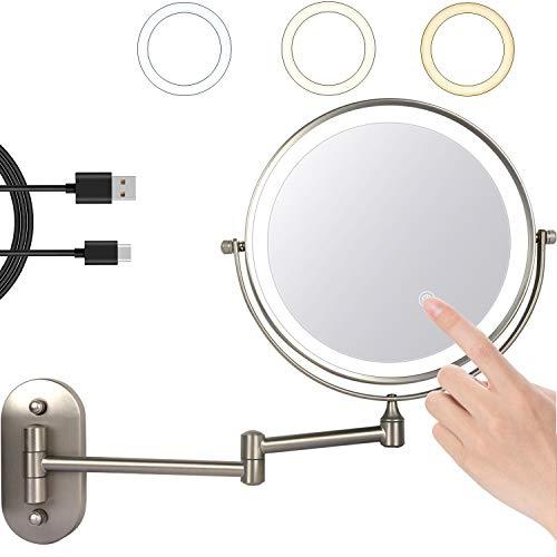 ZEPHBRA Espejo Maquillaje con Luz LED Aumento 1X/5X Espejo Cosmético Iluminoso de Doble Cara, 360 Rotación, Recargable USB, Extensible de Pared para Baño, Tocador, Hotel, Plata (Níquel)