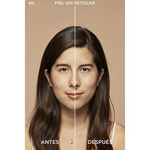 L'Oréal Paris Accord Parfait, Base de maquillaje acabado natural con ácido hialurónico, tono piel medio 4N, 30 ml