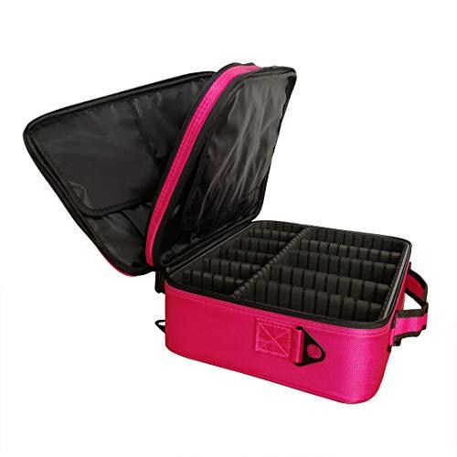 Doubleblack Grande Bolsa Maquillaje Neceser para Maquillaje Profesional Maletin Organizador Estuch Viaje con Brochas Compartimentos 37x27x13 cm Rosado