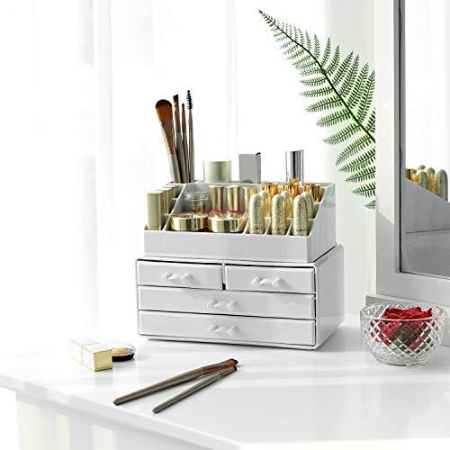 SONGMICS Organizador de Maquillaje, Material acrílico, con 4 cajones para Almacenamiento en el baño o el Dormitorio, para pintalabios, Joyas, Esmalte de uñas, Hilo de Coser, en Color Blanco