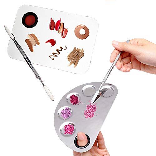 Wenxiaw Paleta Mezclar Maquillaje Paleta de Maquillaje de Acero Inoxidable Paleta de Mezcla de Maquillaje 2 Tipos para Sombra de Ojos, Pestañas, Lápices Labiales, Arte de Uñas (Plata)