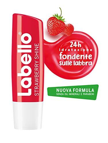 Labello Strawberry Shine - Bálsamo labial para labios suave e hidratante, aroma de fresa