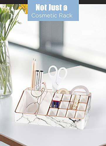 MoKo Organizador de Maquillaje con 12 Compartimentos de Almacenamiento, Organizador para Pintalabios 12 Rejillas de PS para Organización de Lápiz Labial, Pinceles, Joyas - Mármol Blanco