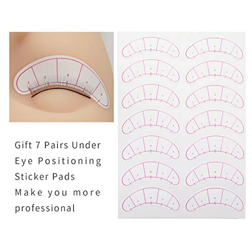 25 pares de pestañas prácticas para extensiones de ojos, Pestañas de práctica auto-adhesivas con parche de 7 pares para el entrenamiento de EMEDA