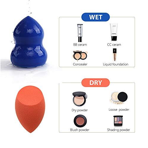 Juego de esponjas de maquillaje 8 en 1 ENERGY Beauty con esponja mezcladora, estuche de viaje, soporte para esponjas de maquillaje, ideal para viajes (1 naranja, 1 azul y 1 mezclilla) …