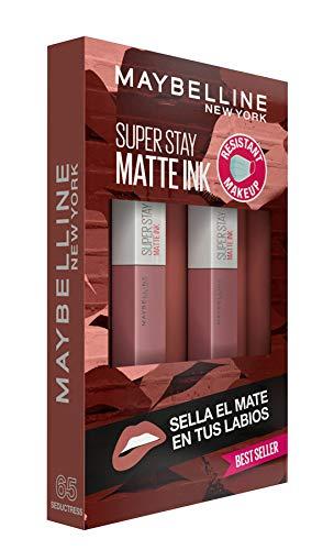 Maybelline New York, SuperStay Matte Ink, Cofre 2 Pintalabios Permanentes Líquidos de Larga Duración, Efecto Mate, Maquillajes Labiales, Tono 65 Seductress - 2 Unidades, 10 ml