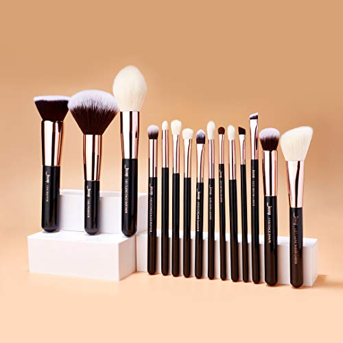 Jessup 15pcs oro rosa/negro profesional juego de pinceles de maquillaje Make Up Kit de herramientas de brocha para base de maquillaje en polvo pincel Shader Liner T160