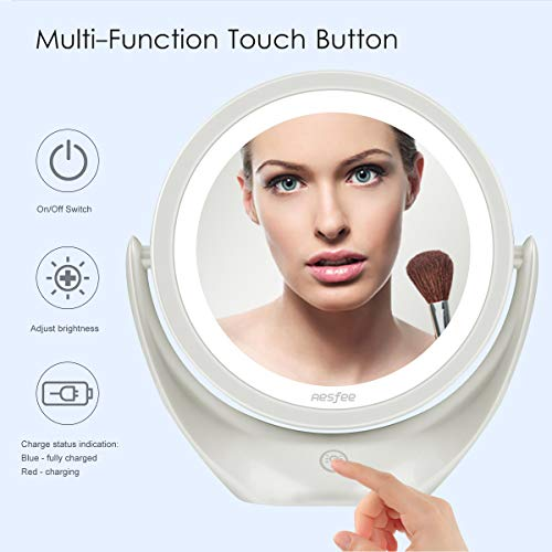 Aesfee Espejo de Maquillaje 5X con luz LED, Espejo Cosmético con Interruptor Táctil de Brillo Ajustable de 3 Niveles. Espejo de Viaje Portátil Iluminado, Rotación de 360 °, Blanco …