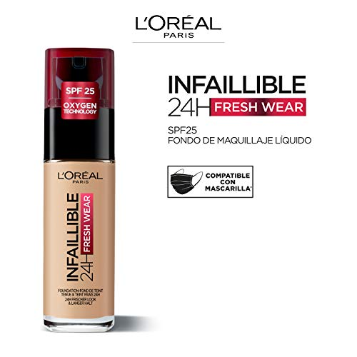 L'Oréal Paris Make-up designer 24H Fresh Wear Base de Maquillaje de Larga Duración , Tono 230 Miel Eclat- 30 ml