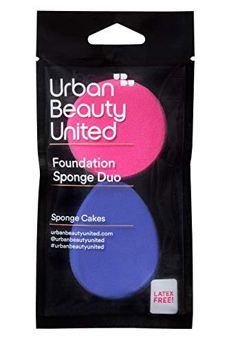 URBAN BEAUTY UNITED | Esponjas para Maquillaje Facial | Sponge Cakes Duo-Duo de Esponjas Aplicadoras | 3,56x8,64x10,92 cm | Cruelty Free: No Testado en Animales | Esponjas de Maquillaje Profesional