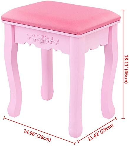 Iglobalbuy Tocador Vanity Makeup con Espejo Ovalado y Cajones para niñas (1 Espejo + 4 cajones + 1 Taburete) Juegos de Escritorio de Maquillaje Rosa