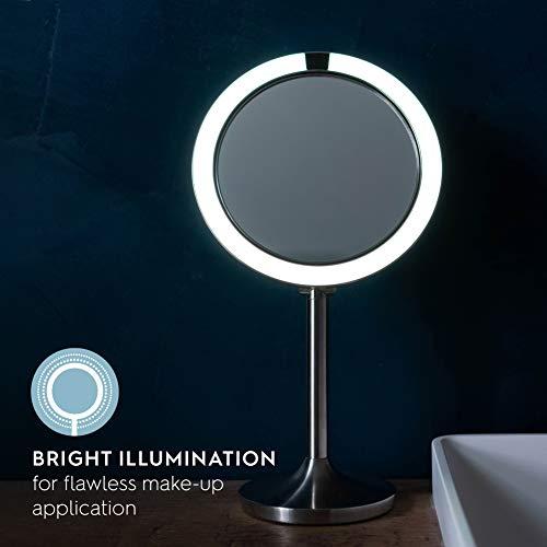 Homedics El espejo de maquillaje se ilumina automáticamente al acercarse a la cara, cara doble: aumento 7x y 1x, inalámbrico y recargable