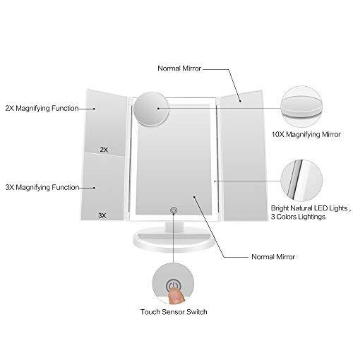 FASCINATE Espejo Maquillaje con Luz 3 Modos Iluminación Colores,72 Leds Tríptica Aumentos 3X, 2X,1x Magnetismo Extraíble Espejo 10X Rotación 180° Espejo de Maquillaje Carga con USB o Batería (Blanco)