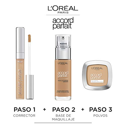 L'Oréal Paris Accord Parfait, Base de maquillaje acabado natural con ácido hialurónico, tono piel claro 1R, 30 ml