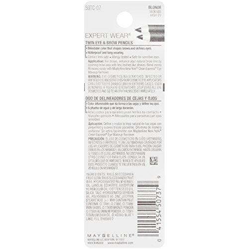 Gemey Maybelline–Dúo de lápices para cejas y ojos–N.° 104Light Brown (marrón claro)