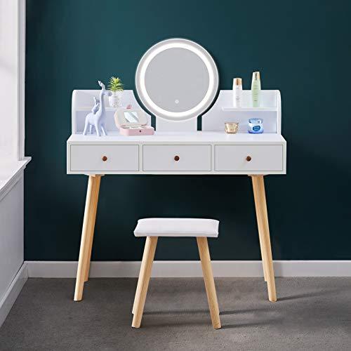 OFCASA - Juego de tocador de espejo con luces LED, diseño moderno y espejo Hollywood, mesa de almacenamiento con 2 cajones, para maquillaje, escritorio para dormitorio o vestidor
