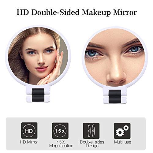 bayrick Maquillaje de Mesa de 2 Caras Espejo de un Lado con Espejo de Aumento 15X de 360 ° de rotación Espejo de Moda (White)