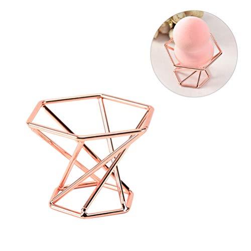 Lurrose - 2 piezas de soporte de esponja de maquillaje de metal para secar el maquillaje, huevo, borla de polvo, expositor (oro rosa)