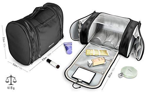 Neceser Viaje Bolsa de Aseo para colgar + Espejo + Bolsillos Interiore   Bolso de Tocador Maquillaje Grande Impermeable   Hombre Mujer Niño - Accesorio Baño, Viajar, Equipaje Mano, Outdoor, Camping