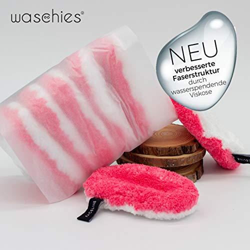 waschies® Tamponi struccanti lavabili Edizione rosa/bianco set di 7 | Finissima miscela di fibre di microfibra e viscosa, pulizia a pori profondi e a contatto con la pelle | Sostenibile solo con acqua