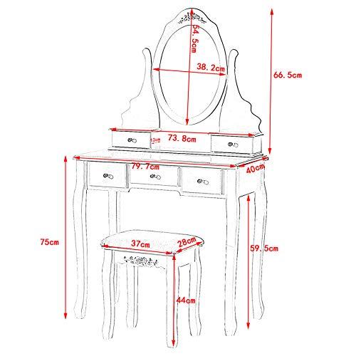 Lestarain Tocador Mesa Cosmética Mesa de Maquillaje con Taburete y Espejo Mesa de Peluquería con 5 Cajones, MDF Blanco 80x40x141.5cm LUGIG002