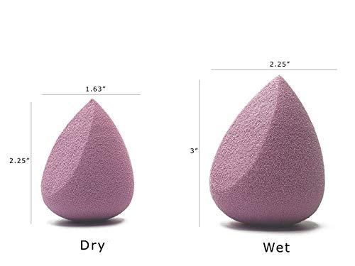Set de esponja de maquillaje Pro Puff (2 piezas), forma de lágrima y cuña, hipoalergénico, sin látex, belleza impecable, base sin rayas