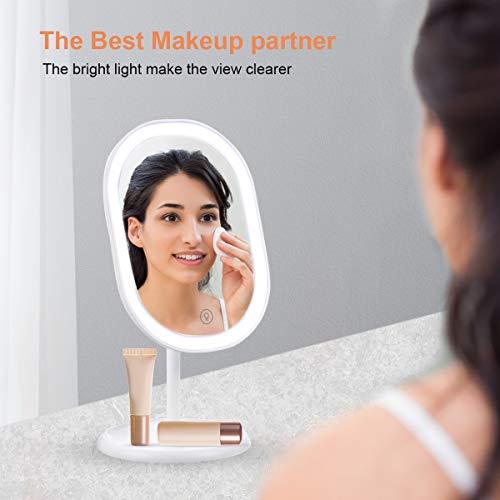 Espejo Maquillaje con Luz,Espejo Maquillaje con Espejo Aumento 10X,Espejos con luz led y 3 Modos de Color Rotación de 180°, Interruptor de Pantalla Táctil,Recargable