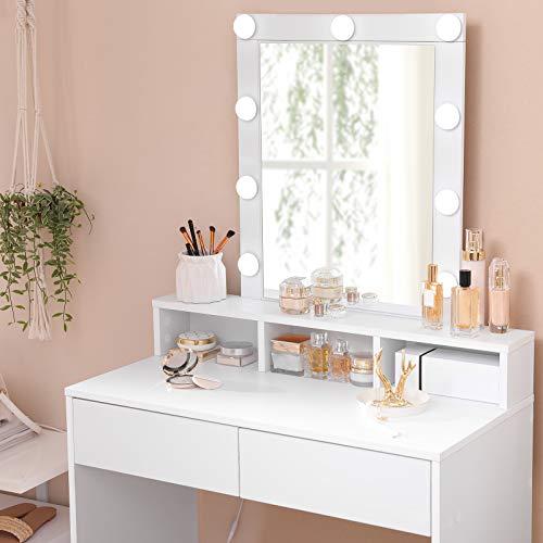 VASAGLE Tocador con Espejo y Bombillas, Mesa de Maquillaje, con 2 Cajones y 3 Compartimentos de Almacenamiento, Estilo Moderno, Blanco RDT114W01