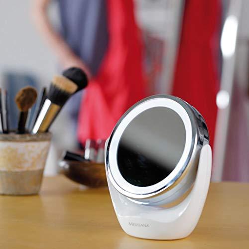Medisana CM 835 Espejo de maquillaje redondo, Espejo de mesa con iluminación LED y 5 aumentos - Espejo de maquillaje con función de giro de 360°