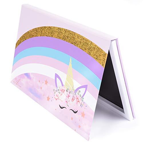 Allwon Paleta magnética Paleta de maquillaje vacía de unicornio con 30 piezas Adhesivo Paleta vacía Pegatinas de metal para sombra de ojos Lápiz labial Blush Powder