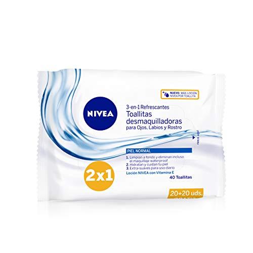 NIVEA Toallitas Desmaquilladoras Refrescantes (1 x 40 ud), toallitas desmaquillantes para piel normal y mixta, toallitas húmedas para rostro, ojos, labios y cuello