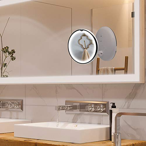 Fancii Espejo de Maquillaje con Luz LED Naturales y Aumento de 7x, Espejo Ventosa con 360 Rotación, 20 cm de Ancho, Portátil y Compacto